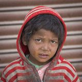 Portrait poor young boy in India Royalty Free Stock Photography