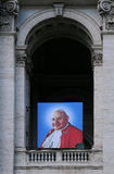 Portrait of Pope John Paul II on Basilica Stock Photos