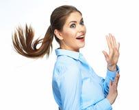 Portrait positif d'émotion de femme d'affaires Longs cheveux de mouvement OIN photo stock