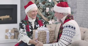Portrait of positive Caucasian mature woman giving gift to her husband. Senior man kissing wife on cheek and talking. Portrait of positive Caucasian mature woman stock video footage