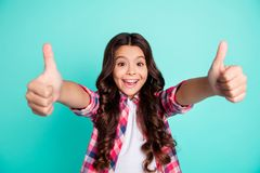 Portrait positive cheerful satisfied cool beautiful stylish child advertise adverts choice decision scream alright good. Perfect discount recommend deal done royalty free stock image