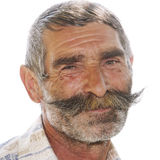 Portrait of positive elderly man with moustaches Royalty Free Stock Photography