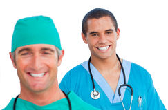 Portrait of positive male doctors Royalty Free Stock Images