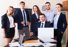 Portrait of positive  managers in office Royalty Free Stock Photography