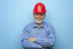 Portrait of a positive older experienced architect royalty free stock image