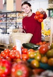 Portrait of positive young female customer selecting tomatoes in Stock Photo