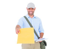 Portrait of postman delivering letter. On white background Royalty Free Stock Image
