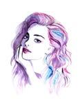 Portrait pourpre de femme de mode d'aquarelle illustration stock