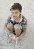 Portrait of poverty, little poor dirty boy Royalty Free Stock Images