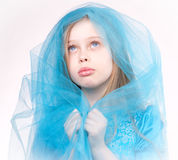Portrait of praying girl, blond child Stock Images