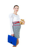 Portrait of pregnant businesswoman with document case and bear t Royalty Free Stock Photo