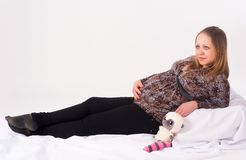 Portrait Of A Pregnant Woman Stock Images