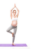 Portrait Of Pregnant Woman Doing Yoga Royalty Free Stock Image