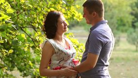 Portrait of a pregnant woman with her husband. stock video footage