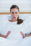 Portrait of pregnant woman suffering from pain Royalty Free Stock Photography
