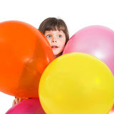 Portrait of preschooler girl with air baloons Royalty Free Stock Photo