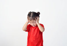 Portrait of preschooler girl having a headache Stock Image