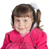 Portrait of preschooler girl in headphones Royalty Free Stock Image
