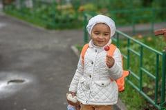 Portrait of preschooler girl. With lollypop Stock Photo
