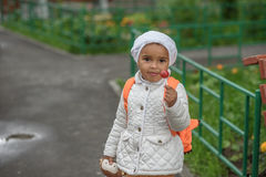 Portrait of preschooler girl. With lollypop Royalty Free Stock Images
