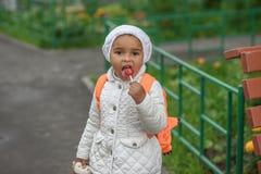 Portrait of preschooler girl. With lollypop Stock Images
