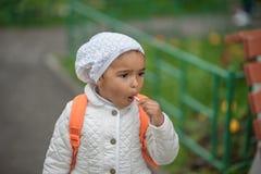 Portrait of preschooler girl. With lollypop Royalty Free Stock Photos