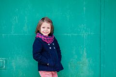 Portrait of preschooler girl outside. Young toddler girl outdoor. This image has attached release Royalty Free Stock Images