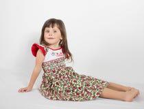 Portrait of preschooler girl in summer dress Stock Images