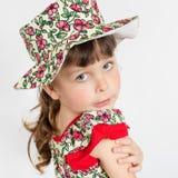 Portrait of preschooler girl in summer hat Stock Photography