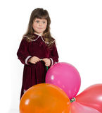 Portrait of preschooler girl in velvet dress Stock Photos