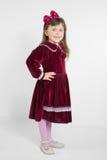 Portrait of preschooler girl in velvet dress Royalty Free Stock Photo
