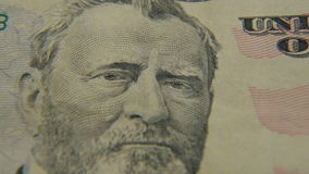 Portrait of President Grant on a fifty dollar bill stock video