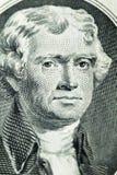 Portrait of president Thomas Jefferson. President Thomas Jefferson on two-dollar banknote Royalty Free Stock Image