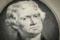 Portrait of President Thomas Jefferson portrait on two 2 american dollar bill. Macro close up view stock photography