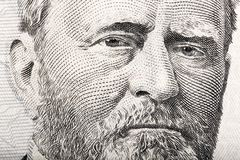 Portrait of the President Ulysses S. Grant close up from 50 doll royalty free stock image