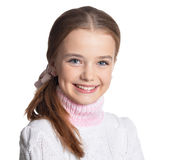 Portrait of preteen girl. Portrait of cute preteen girl looking at camera isolated on white background Royalty Free Stock Image