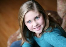 Portrait of preteen girl smiling Royalty Free Stock Photo