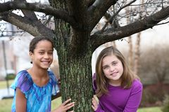 Portrait of preteen girls smiling Stock Image