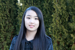 Portrait of pretty Asian girl. At the cedar background Royalty Free Stock Images