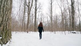 Portrait of pretty attractive girl. Winter fun. Walks in the open air. A happy girl is walking along the winter park. Portrait of pretty attractive girl. Winter stock video footage