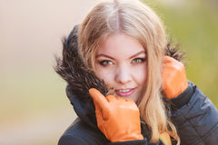 Portrait of pretty attractive woman in jacket. Royalty Free Stock Image