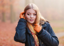 Portrait of pretty attractive woman in jacket. Stock Photography