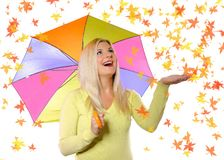 Portrait of pretty autumn woman under umbrella Royalty Free Stock Photos