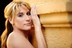 Portrait of a pretty blond woman Stock Photos