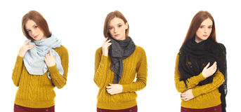 Portrait of a pretty blonde girl in scarf Royalty Free Stock Images