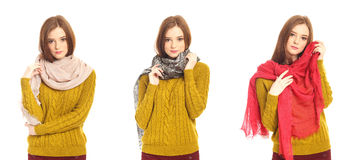 Portrait of a pretty blonde girl in scarf Stock Photos