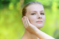 Portrait of pretty blonde woman Royalty Free Stock Photos