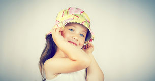 Portrait of pretty girl in a hat stock image