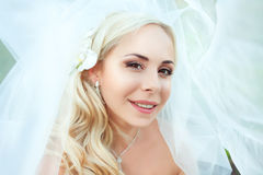 Portrait of pretty bride looking at camera Royalty Free Stock Photos