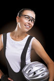 Portrait of a pretty brunette female professonal athlete  standi Royalty Free Stock Photography